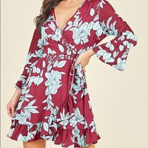 Dresses & Skirts - Flared Sleeve Ruffle Hem Wrap Front Mini